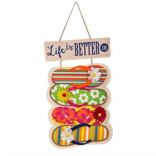 Life is Better in Flip Flops Door Decor 2DHB1456 Evergreen Door Hanger