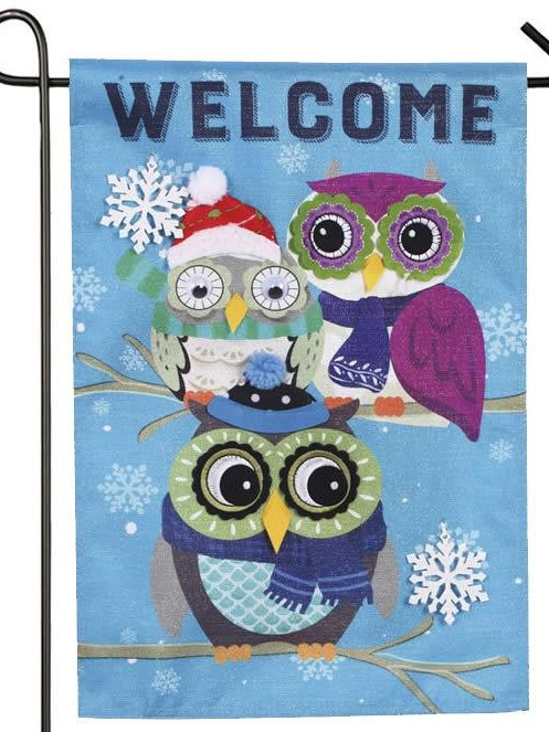 "Winter Owls 14L8728 Evergreen Linen Garden Flag 12.5"" x 18"""