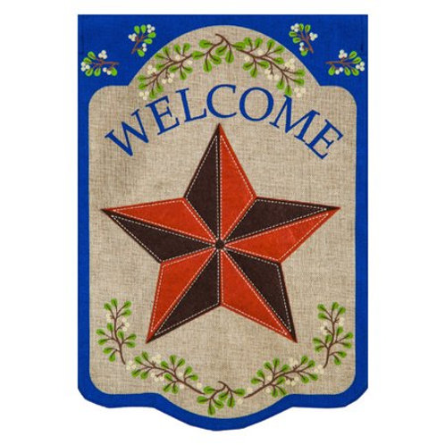 """**OPEN FLAG NO PACKAGING** Country Star 13B3759 Burlap HOUSE Flag 28"""" x 44"""""""