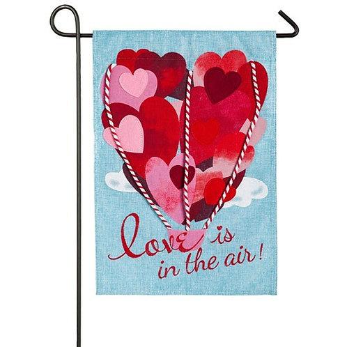 "Love is in The Air 14B4015 Evergreen Burlap Garden Flag 12.5"" x 18"""
