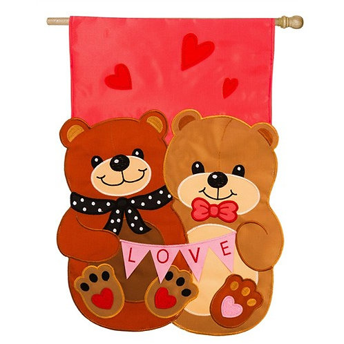 "**OPEN FLAG NO PACKAGING** Love Bears All Things Applique HOUSE Flag 28"" x 44"""