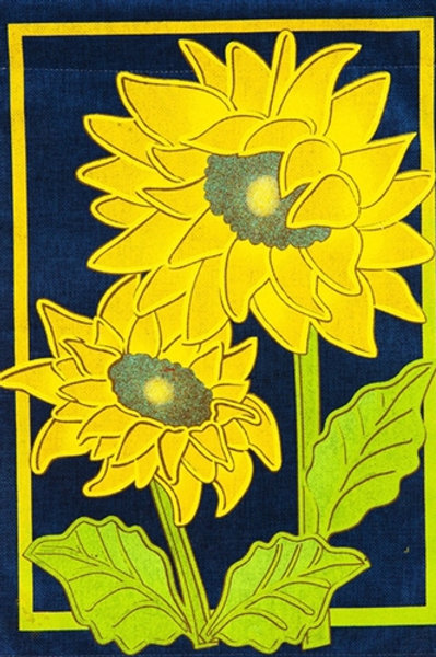 "**OPEN FLAG** Sunflower Afternoon 13B4029 Evergreen Burlap HOUSE Flag 28"" x 44"""