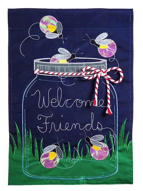 """Firefly Welcome 158646BL Evergreen Applique HOUSE Flag 28"""" x 44"""""""