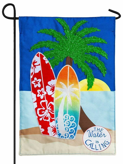 "The Water is Calling 14L4420BL Evergreen Linen Garden Flag 12.5"" x 18"""