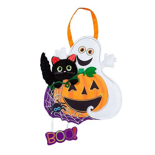 Halloween BOO Door Decor 2DHB1595 Evergreen Door Hanger
