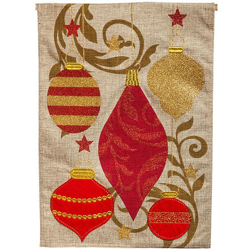 "**OPEN FLAG NO PACKAGING** Holiday Ornaments 13B3857 Burlap HOUSE Flag 28"" x 44"""
