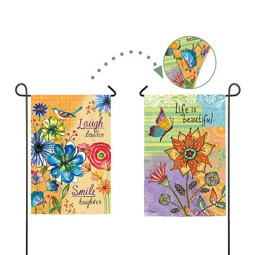 "Life is Beautiful 14S3329FB Evergreen Suede Garden Flag 12.5"" x 18"""