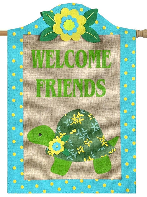 "**OPEN FLAG** Turtle 13B3721 Evergreen Burlap HOUSE Flag 28"" x 44"""