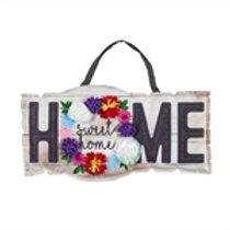 Home Sweet Home Sign Burlap Door Decor 2DHB1416 Evergreen Door Hanger