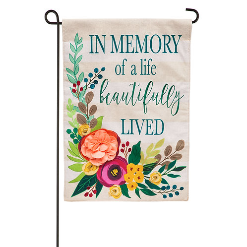 """In Memory of a Life Beautifully Lived 14B9485 Burlap Garden Flag 12.5""""W x 18""""H"""