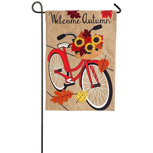 "Autumn Bicycle 14B4503BL Evergreen Burlap Garden Flag 12.5"" x 18"""