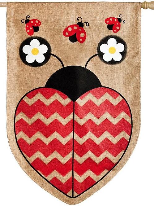 "**OPEN FLAG NO PACKAGING** Love Ladybug 13B3246BL Burlap HOUSE Flag 28"" x 44"""