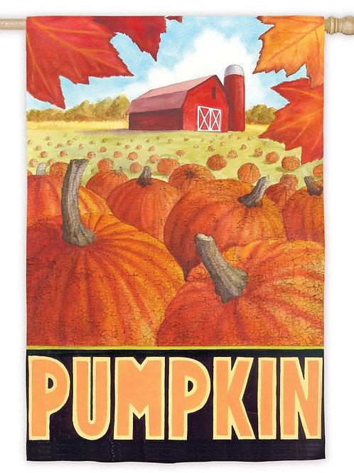 """**OPEN FLAG** Pumpkin Field 13S3490 Evergreen Suede HOUSE Flag 28"""" x 44"""""""