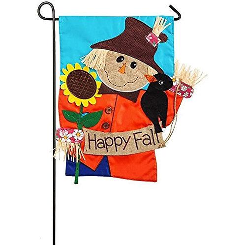 """Scarecrow 168566BL Evergreen Applique Garden Flag 12.5"""" x 18"""""""