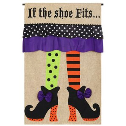 "Witch Feet 13B3442BL Evergreen Burlap HOUSE Flag 28"" x 44"""
