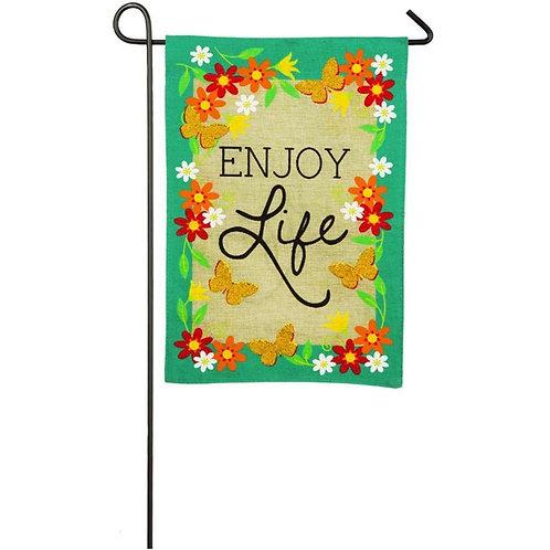 "Enjoy Life 14B4037 Evergreen Burlap Garden Flag 12.5"" x 18"""