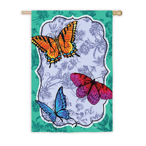 "**OPEN FLAG NO PACKAGING** Butterfly Toile 13S2749 Suede HOUSE Flag 28"" x 44"""