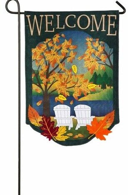 "Fall Adirondack 14B4557 Evergreen Burlap Garden Flag Pet 12.5"" x 18"""