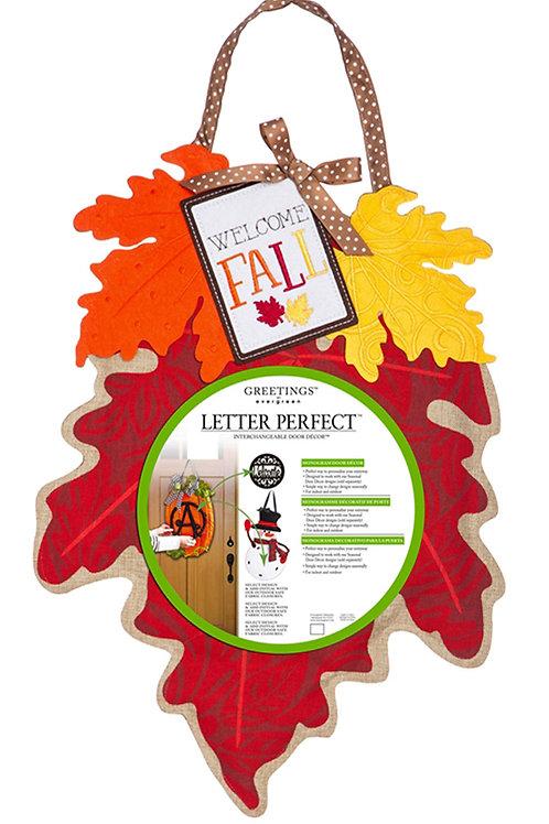 Fall Leaves Monogram Door Decor 2DHB1208 Evergreen Door Hanger