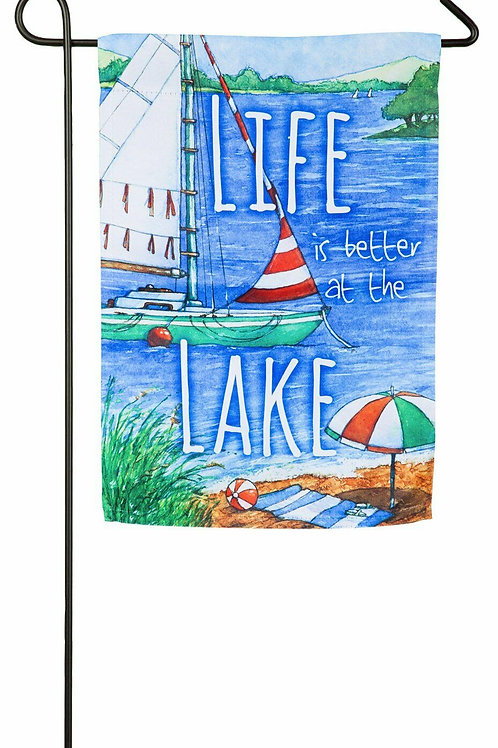 """Life is Better at The Lake 14S4481 Evergreen Suede Garden Flag 12.5"""" x 18"""""""