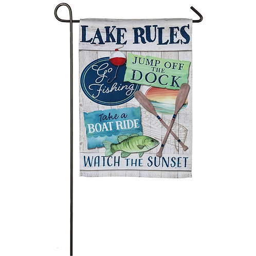 """Lake Rules 14S8572 Evergreen Suede Garden Flag 12.5"""" x 18"""""""