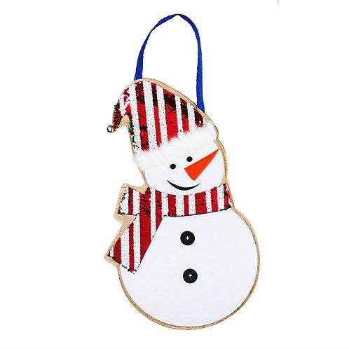 Snowman REVERSIBLE SEQUIN Door Décor 2DHS1614 Evergreen Door Hanger