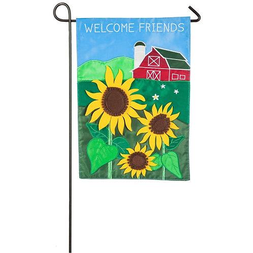 "Country Sunflower 168683BL Evergreen Applique Garden Flag 12.5"" x 18"""