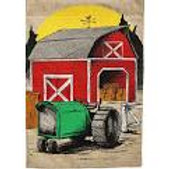 "Harvest Barn 13B3878 Evergreen Burlap HOUSE Flag 28"" x 44"""