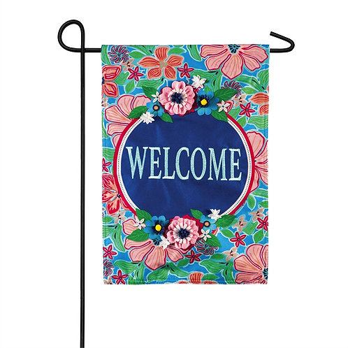 """Flower Garden Welcome 14L9162BL Evergreen Linen Garden Flag 12.5"""" x 18"""""""