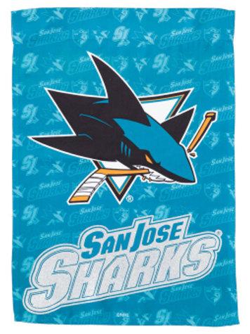 "NHL Team Sports San Jose Sharks 14S4373BL Suede GLITTER Garden Flag 12.5"" x 18"""