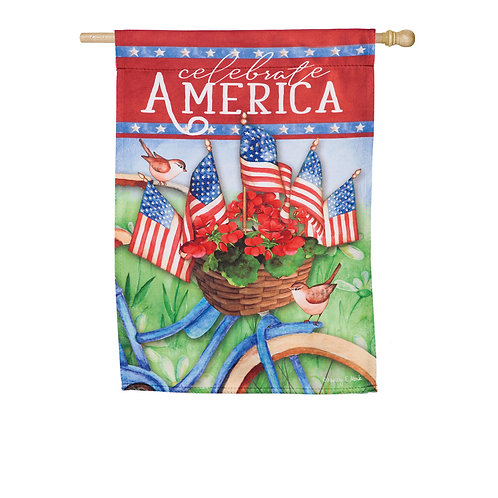 """Celebrate America Bicycle 14S9071 Evergreen Garden Suede Flag 12.5"""" x 18"""""""