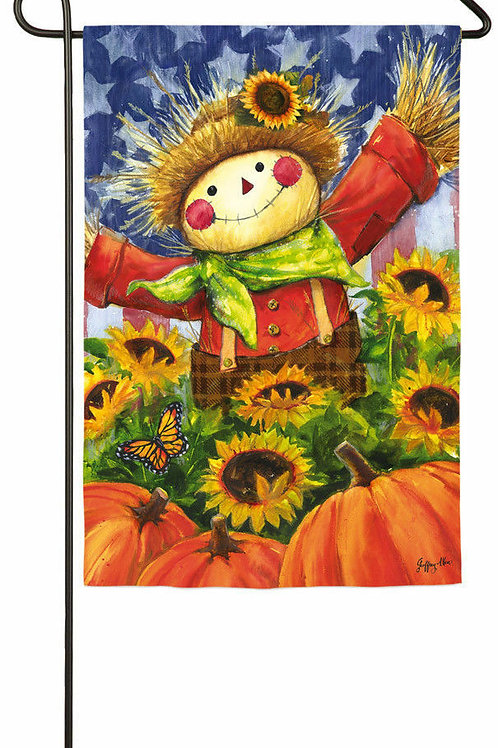 "Joyful Scarecrow 14A3898 14A3898 Evergreen Satin Garden Flag 12.5"" x 18"""