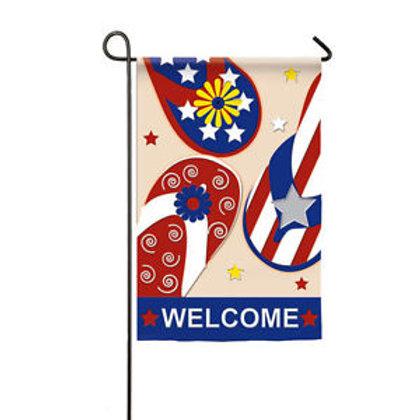"Patriotic Flip Flop 168422 Evergreen Applique Garden Flag 12.5"" x 18"""