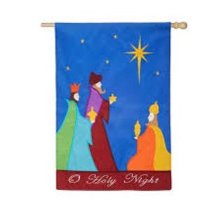"""**OPEN FLAG NO PACKAGING** Oh Holy Night 158287 Applique HOUSE Flag 28"""" x 44"""""""