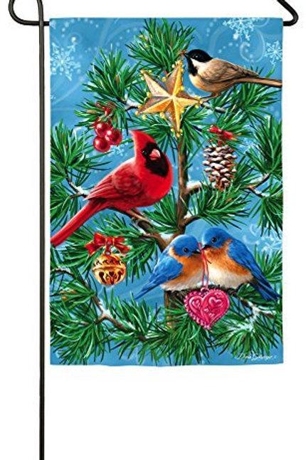 "Festive Flock 14S3517BL Evergreen Suede Garden Flag 12.5"" x 18"""