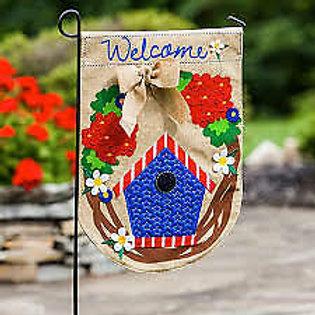 "Patriotic Welcome Wreath 14B3764BL Evergreen Burlap Garden Flag 12.5"" x 18"""