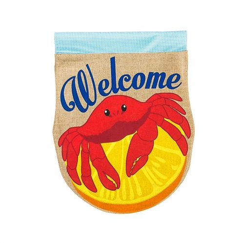 "**OPEN FLAG** Crabby Welcome 14B3371 Evergreen Burlap Garden Flag 12.5"" x 18"""