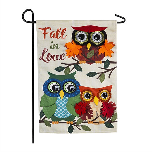 "Autumn Owls ZKL14S8727 Evergreen Suede Garden Flag 12.5"" x 18"""