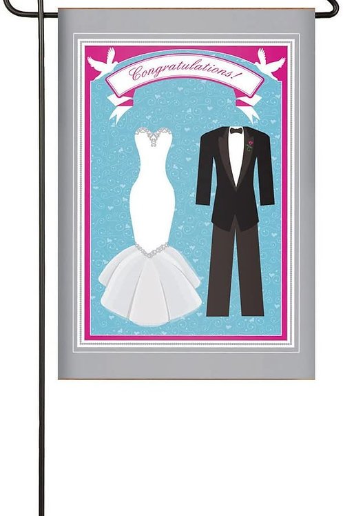 "Wedding 14S2537GC Evergreen Suede Garden Flag 12.5"" x 18"""