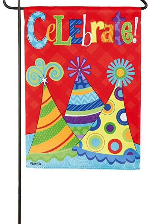 "Let's Celebrate 14S3669 Evergreen Suede Garden Flag 12.5"" x 18"""