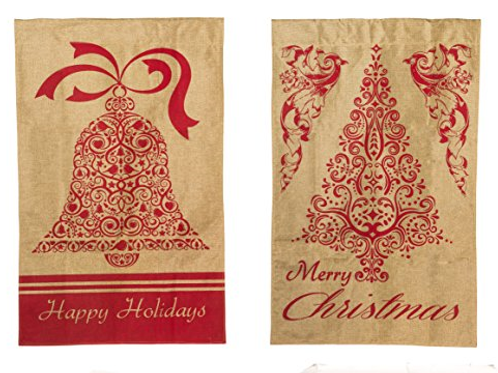 "**OPEN FLAG** Happy Holiday 13B3070FB Evergreen Burlap HOUSE Flag 28"" x 44"""