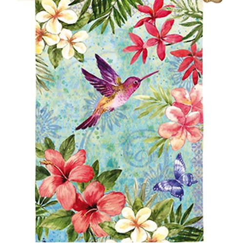 "Tropical Flowers and Hummingbird 13A4090 Evergreen Satin HOUSE Flag 28"" x 44"""