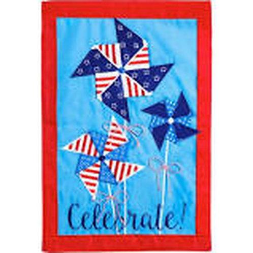 "**OPEN FLAG** Patriotic Pinwheel 158669 Evergreen Applique HOUSE Flag 28""x44"""