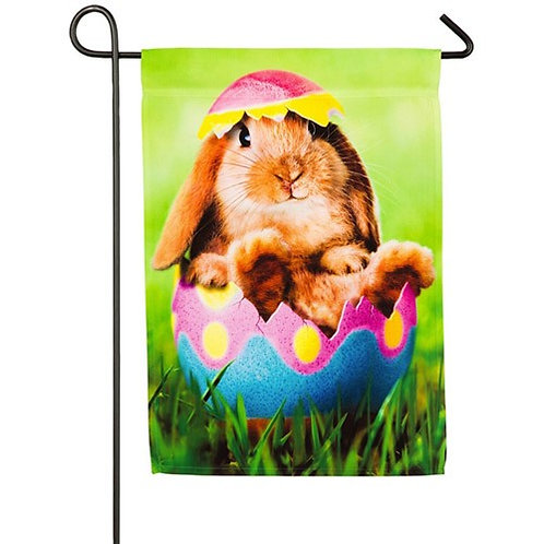 "Bunny in Easter Egg 14A4163 Evergreen Satin Garden Flag 12.5"" x 18"""