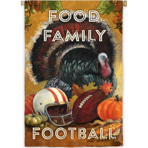 "**OPEN FLAG** Food Family Football 13S3511 Evergreen Suede HOUSE Flag 28"" x 44"""