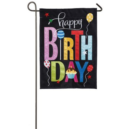 "Happy Birthday Cupcake 14B4048BL Evergreen Burlap Garden Flag 12.5"" x 18"""