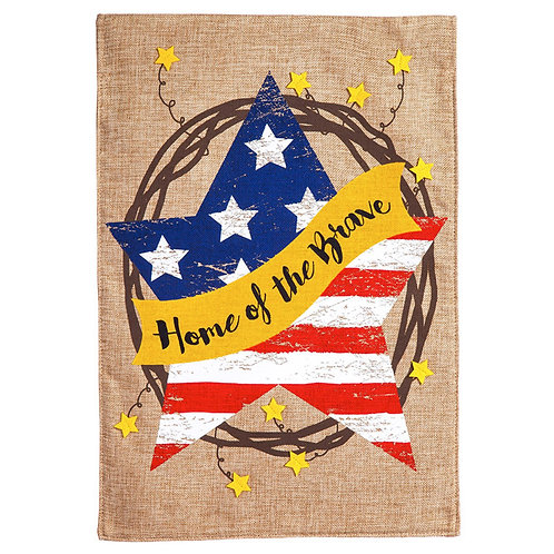 """**OPEN FLAG NO PACKAGING** Home of the Brave Wreath Burlap HOUSE Flag 28"""" x 44"""""""