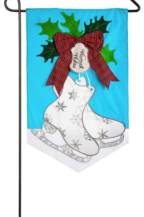 "Winter Skate 168595BL Evergreen Applique Garden Flag 12.5"" x 18"""