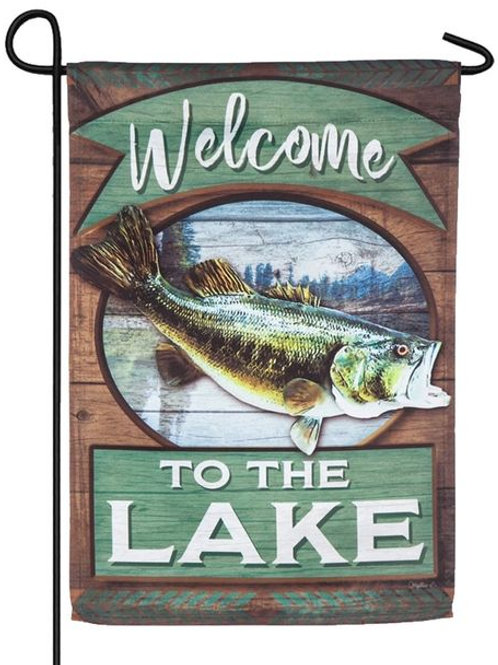 "Lake Fish Welcome 14S4877 Evergreen Suede Garden Flag 12.5"" x 18"""