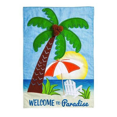 "Palm Tree Paradise 14L4415BL Evergreen Linen Garden Flag 12.5"" x 18"""